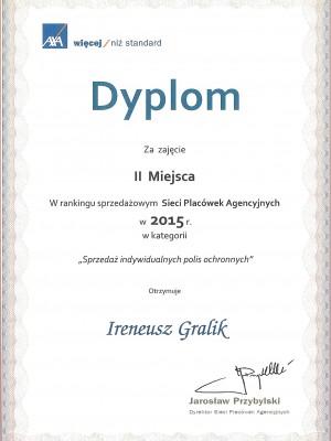 II miejsce w Polsce za 2015 za umowy na życie
