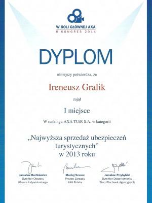 I miejsce w Polsce  za 2013