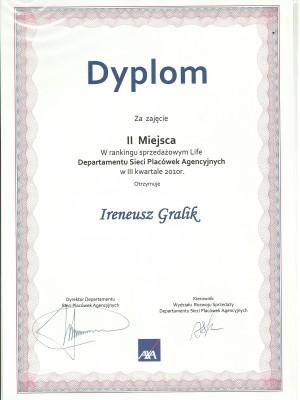 II miejsce w III kwartale w 2010 roku
