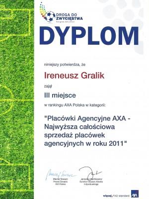 III miejsce w Polsce za najwyższą sprzedaż w 2011 roku