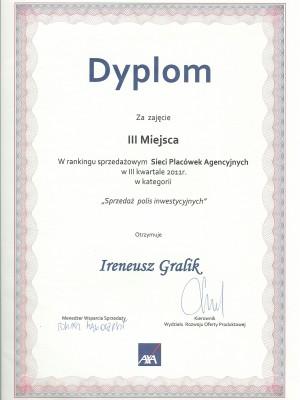 III miejsce w III kwartale za 2011 rok