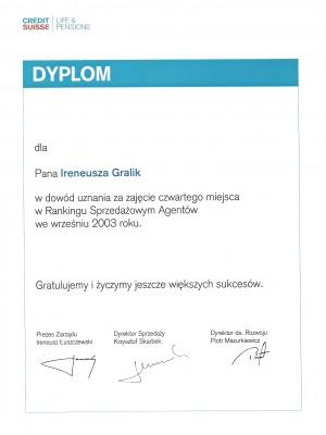 IV miejsce w Polsce we wrześniu w 2003 roku