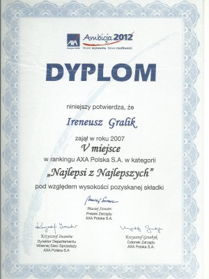 V miejsce w Polsce za 2007 rok
