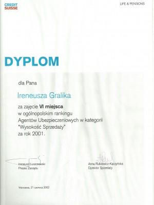 VI miejsce w Polsce za 2001 rok za całość sprzedaży
