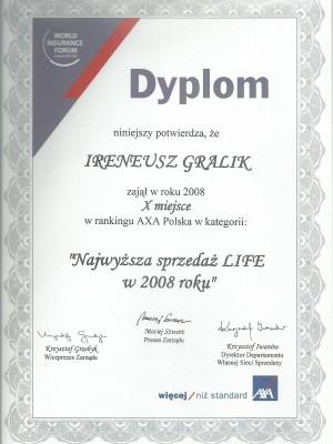 X miejsce w Polsce za najwyższą sprzedaż ubezpieczeń na życie w 2008 roku